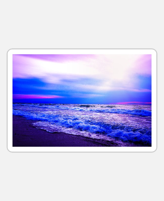 Mood Stickers - Evening mood by the sea | Yolo Artwork - Sticker white mat