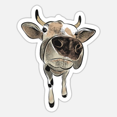 Cow funny animal motif Dairy cow laugh humor - Sticker