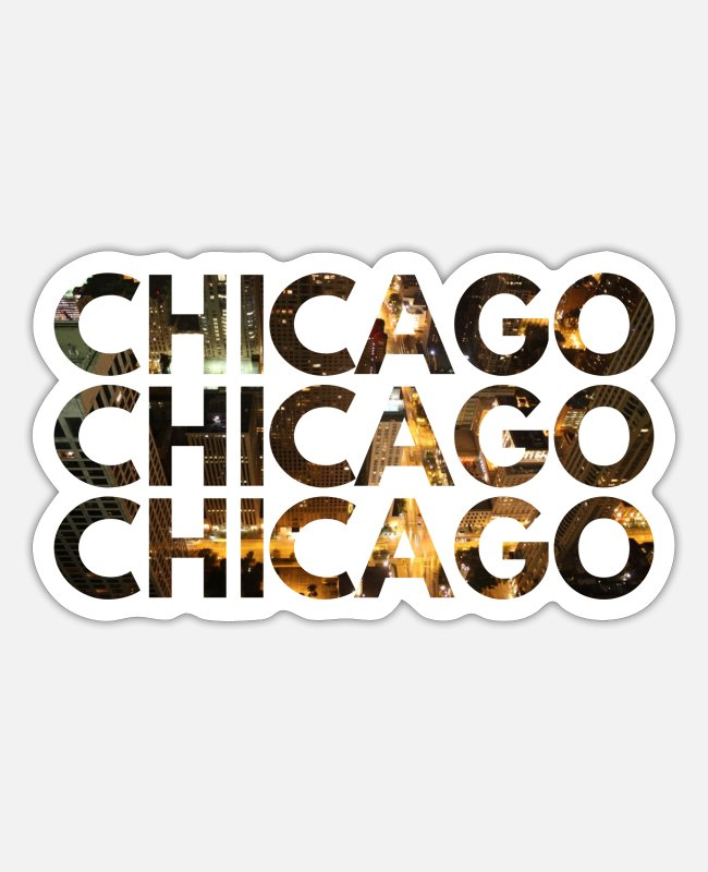USA Sticker - Chicago - Sticker Mattweiß