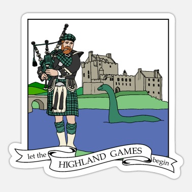 Nessie let the Highland Games begin Schotte mit Dudelsack - Sticker