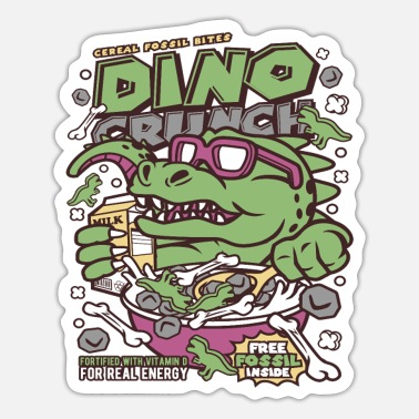 Cartoon Dinosaur Dinosaur Cornflakes Cartoon Cartoon - Sticker