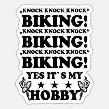 Knock Knock knock knock biking - Sticker