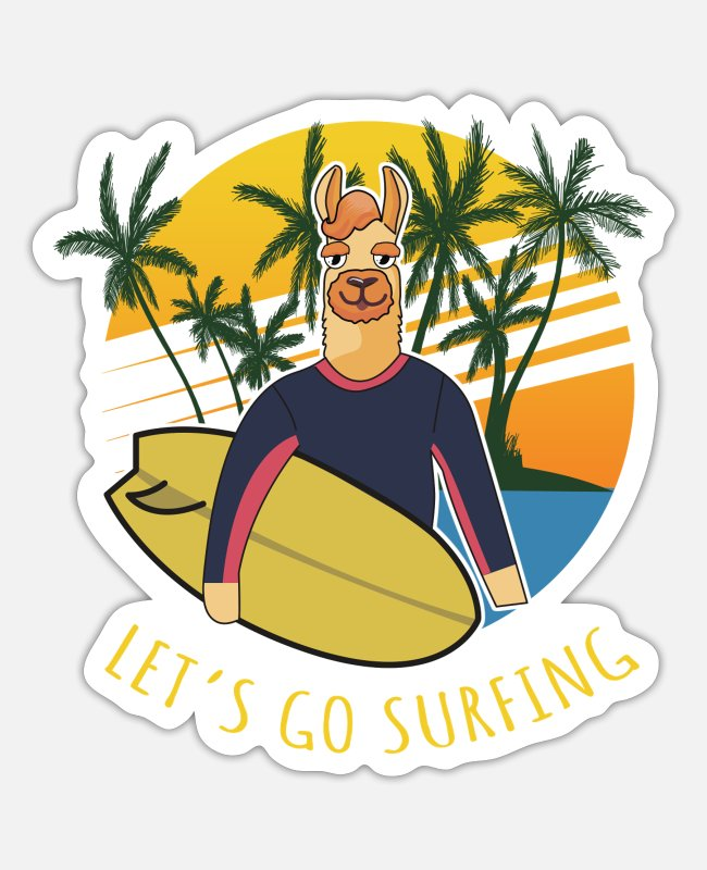Easter Stickers - Go surfing - Sticker white mat