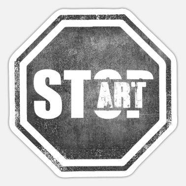 Starte STOP START Start Art Starte Kunst - Sticker
