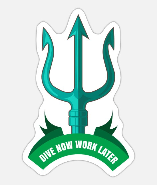 Hippios Stickers - Poseidon Dive Now Work Later Diver Gift Idea - Sticker white mat