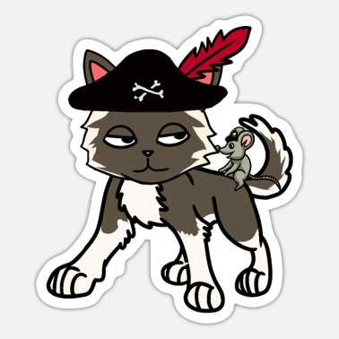 Buccaneer Funny cat pirate buccaneer with mouse - Sticker