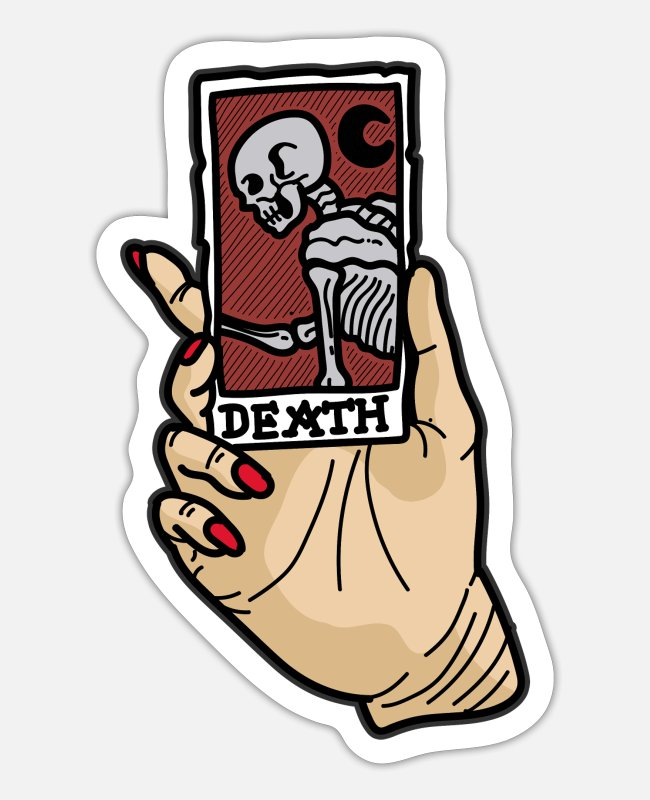 Wacky Stickers - The death tarot cards psychics fortune tellers - Sticker white mat