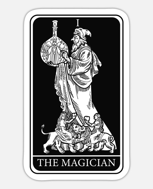 Lay Stickers - The Magician Tarot Cards Psychic Fortune Teller - Sticker white mat