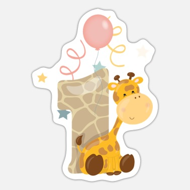 Birthday 1. Geburtstag Safari Giraffe Kinder Baby Zahl 1th - Sticker