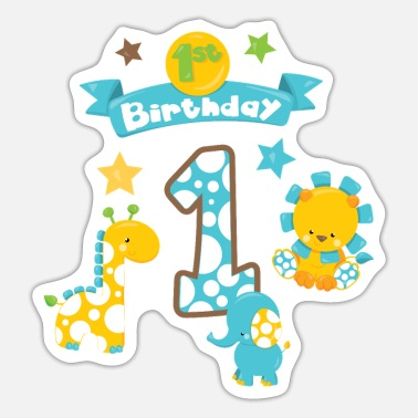 Birthday 1. Geburtstag Junge Boy 1th Birthday Baby Kinder - Sticker