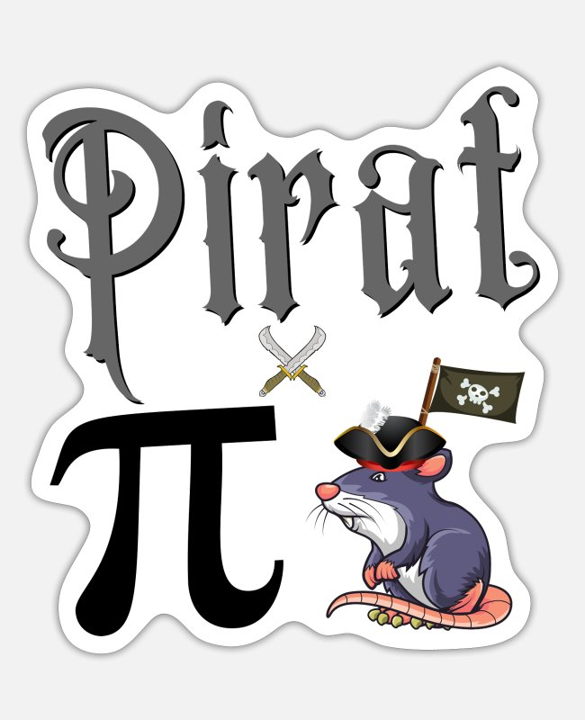 Haha Stickers - Pirate Pi Rat Pi Rat (Gift Idea) - Sticker white mat