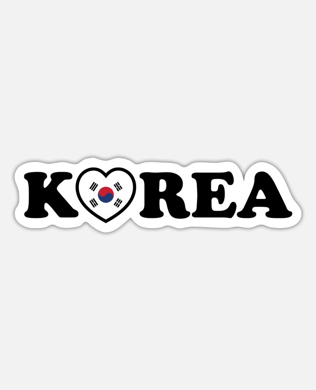 Travel Stickers - Korea Love Heart Flag - Sticker white matte