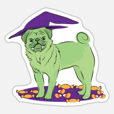 Halloween pug doggy cute in withes at with candy - Sticker