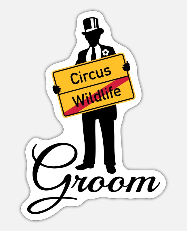Husband Stickers - Circus Wildlife Groom (Bridegroom / Stag Party) - Sticker white mat