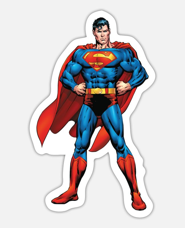 Superhero Stickers - Superman Classic Pose Teenager Longsleeve - Sticker mat wit