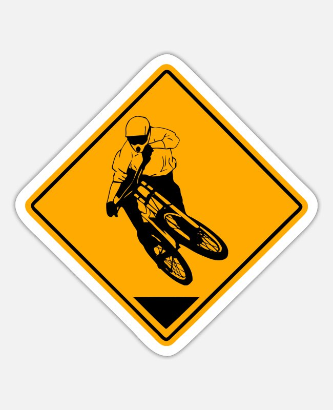 Downhill Sticker - Downhill Road Sign - Sticker Mattweiß
