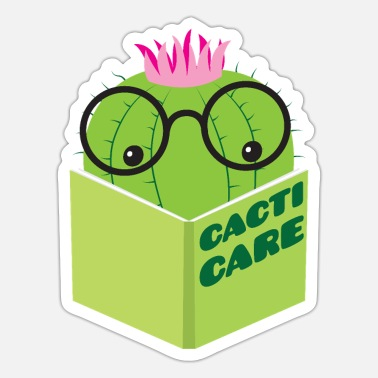 Cactus reading cacti care book nerdy glasses - Sticker