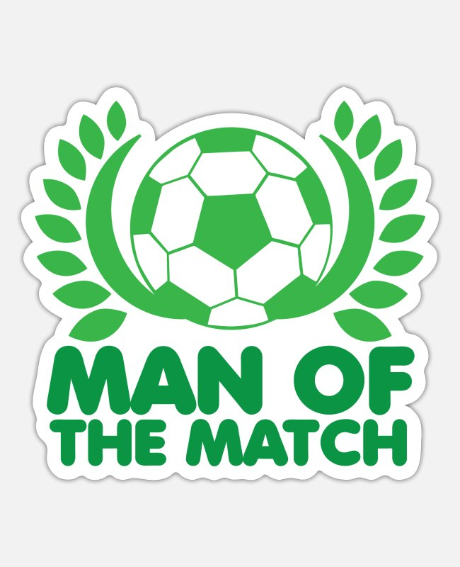 Training Stickers - Man of the match in green with football - Sticker white mat