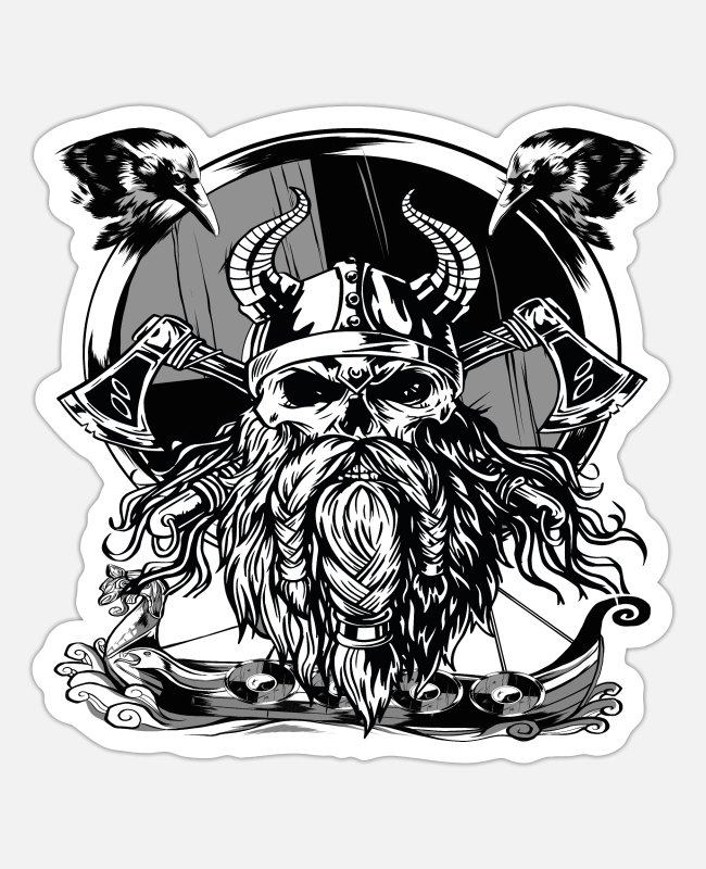 Viking Stickers - Viking godfather - Sticker white matte