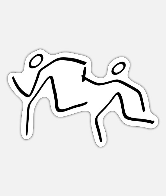 Relay Race Stickers - Athletics Relay Pictogram - Sticker white mat