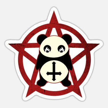 Satanists Sweet Panda Bear Satanist Halloween and Satanists - Sticker
