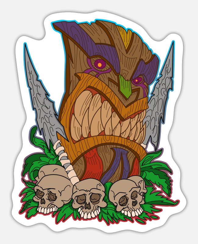 Think Stickers - Tiki mask skull - Sticker white mat