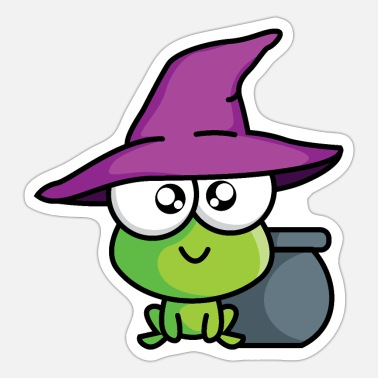 Little Creatures Little green magic creature with magic pot and hat - Sticker