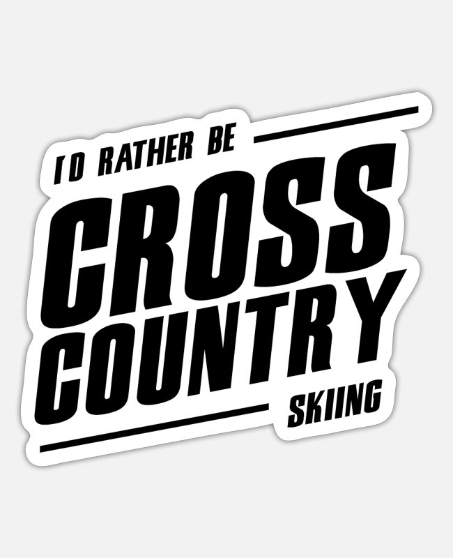 Wintersport Stickers - cross-country skiën - Sticker mat wit