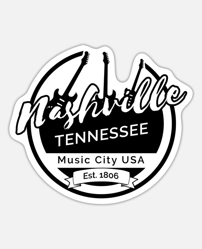 Usa Stickers - Nashville Tenessee - Sticker white mat