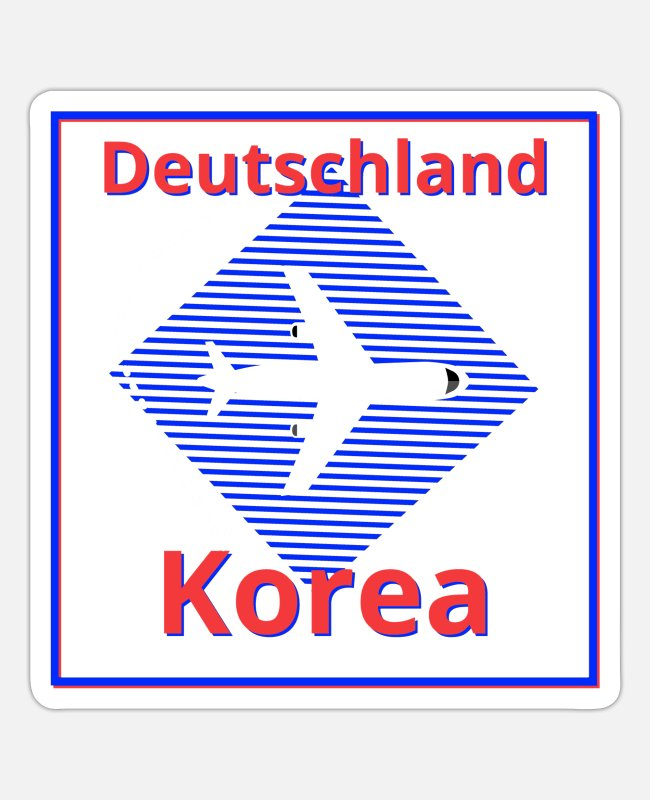 Travel Stickers - From Germany to Korea travel by plane - Sticker white matte