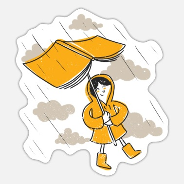 Rainy Weather Rainy weather and books read book as umbrella - Sticker