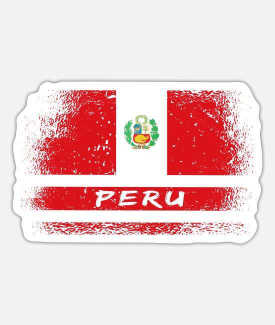 South America Stickers - Peru vintage flag - Sticker white mat