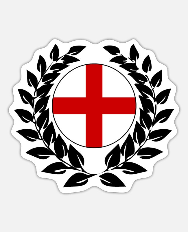 English People Stickers - England flag flag laurel wreath crusader lion - Sticker white mat