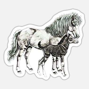 Mare Mare with a foal - Sticker