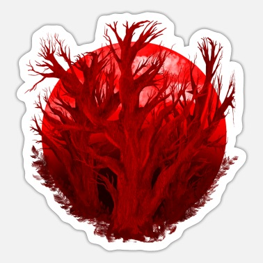 Deforestation Rainforest sees red forest dying and environmental protection - Sticker