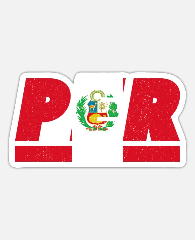 South America Stickers - Peru flag flag PER - Sticker white mat