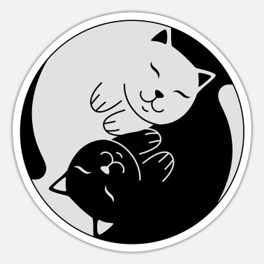 Cat Ying Yang | Cute Illustration - Sticker