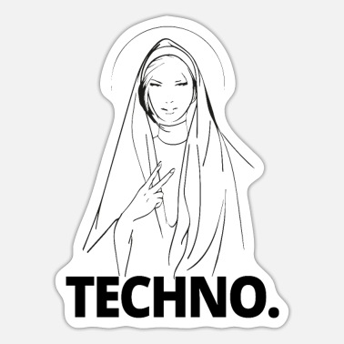 Techno Techno Nonne - Dark Techno, Dark Minimal Techno, H - Sticker