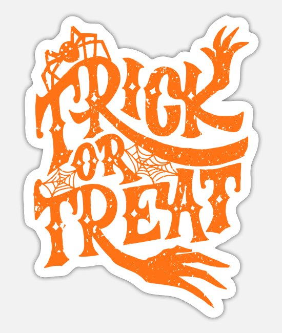 Hipster Sticker - Trick Or Treat | Grunge Halloween Design - Sticker Mattweiß