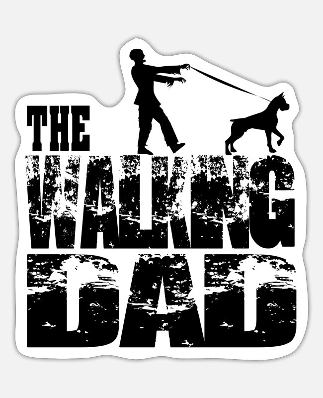 Master Stickers - THE WALKING DAD Zombie with mastiff / Great Dane - Sticker white matte