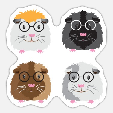 Four Nerdy little guinea pigs with glasses - Sticker