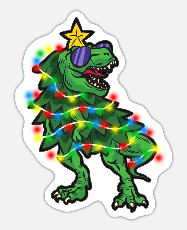 Christmas Stickers - TREE REX - Sticker white mat