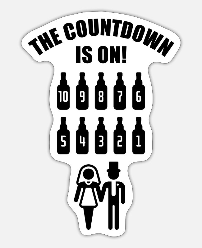 Stag Night Stickers - The Countdown Is On! (Stag Night / Bachelor Party) - Sticker white mat