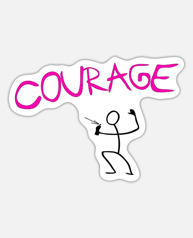 Rap Stickers - Courage spayer pink - Sticker white mat