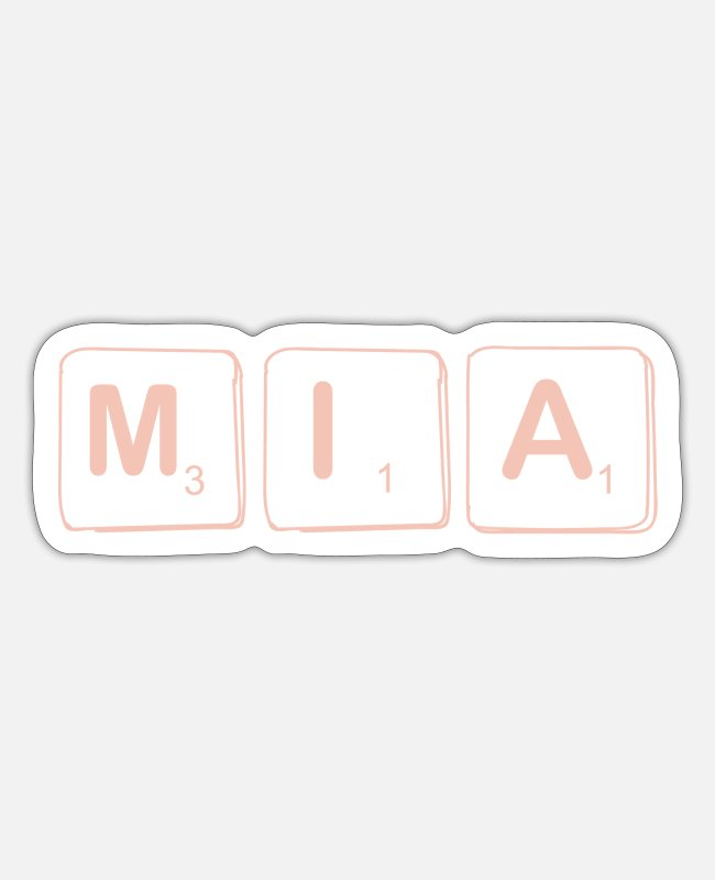 Mia Name Sticker - Mia Name Vorname Scrabble - Sticker Mattweiß