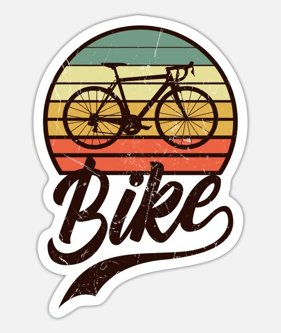 Mountains Stickers - Mountain bike bike - Sticker white mat
