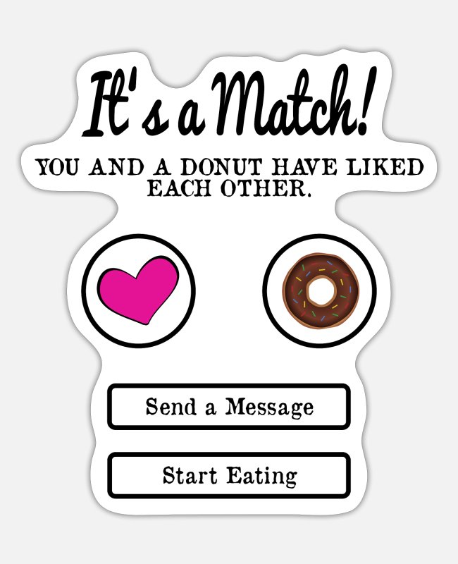 Donut Stickers - It's a match - donut - Sticker white mat