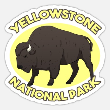 National Yellowstone National Park National Park USA-bison - Sticker