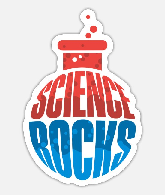 Studies Stickers - Science rocks science teacher Professor nerd - Sticker white mat