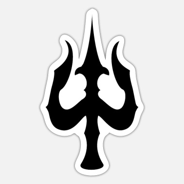 Shiva With Trident Trishul Trishula Shiva Trident Spiritually Black - Sticker